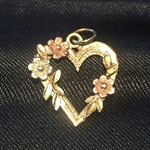 Jewelry - 14 KT TRI GOLD HEART WITH FLOWERS PENDANT